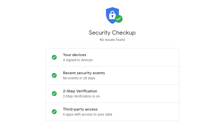 image of google security checkup page