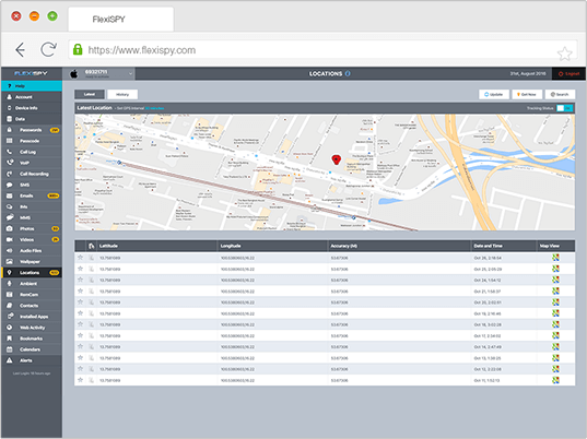 Flexispy's androind app dashboard for tracking geolocations