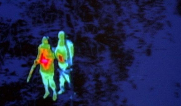 Thermal imaging of people spotted on a property