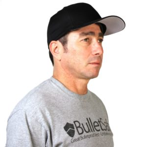 Man wearing stylish bullet proof baseball cap made by Bulletsafe